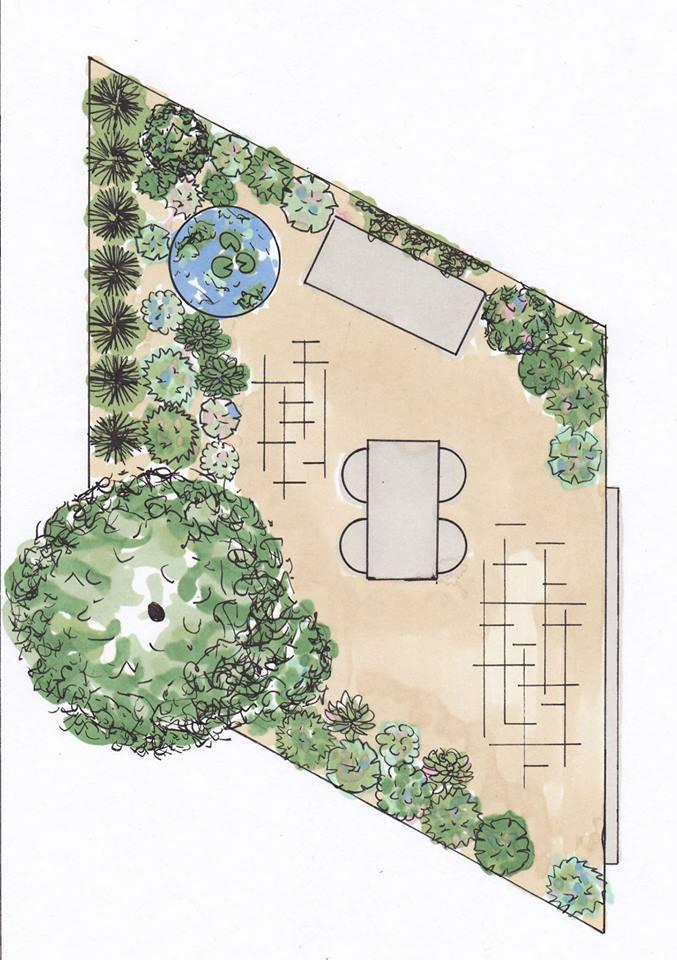 Dakterras met potplanten, een laagstammige boom en tuinset