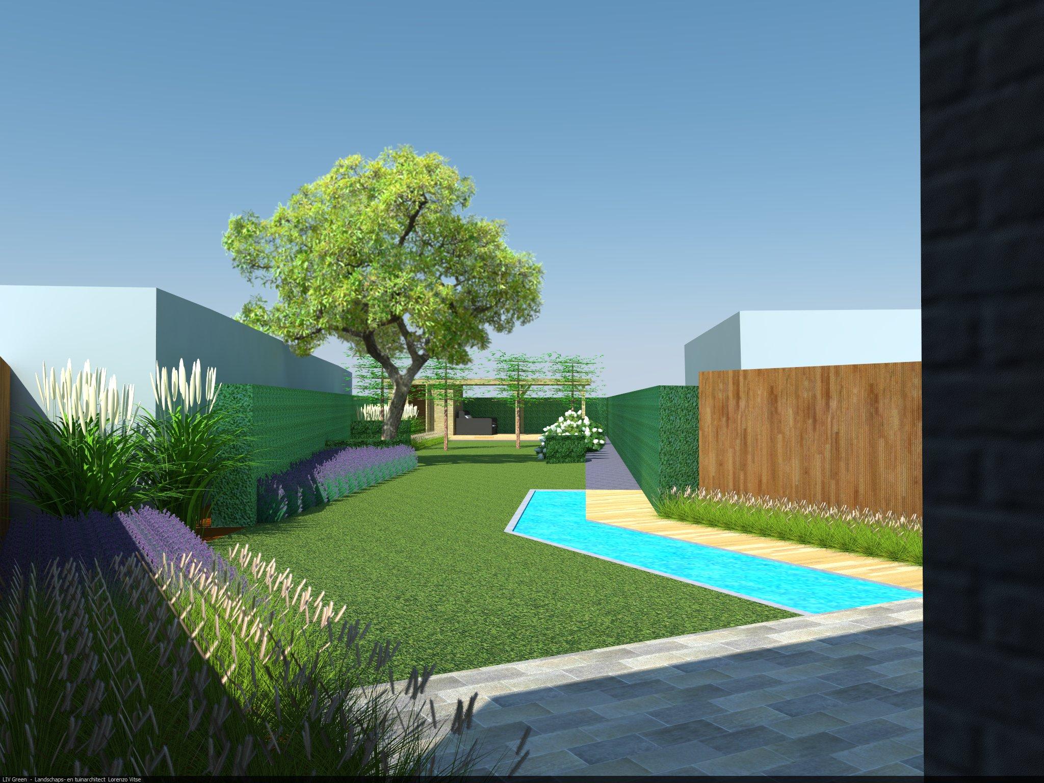 Ontwerp achtertuin van stadswoning in Geluwe